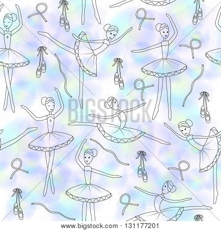 Seamless pattern with dancing ballerinas on a blue watercolor blure background. Vector Vector childs drawing ballerinas