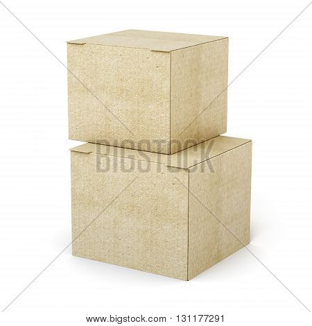 Stack of cardboard boxes isolated on white background. Closed boxes. 3d rendering