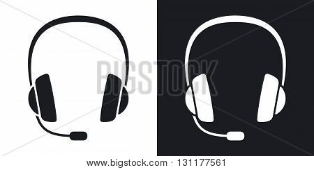Vector headphones with microphone icon . Two-tone version on black and white background