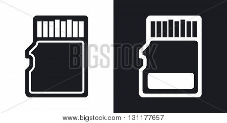 Vector micro SD card icon. Two-tone version on black and white background