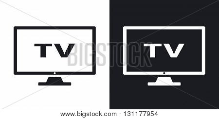 Vector modern tv icon. Two-tone version on black and white background