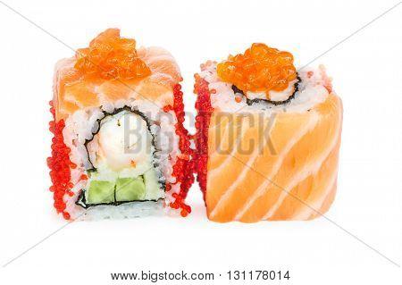 Uramaki maki sushi, two rolls isolated on white