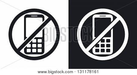 Vector no phone sign. Two-tone version on black and white background