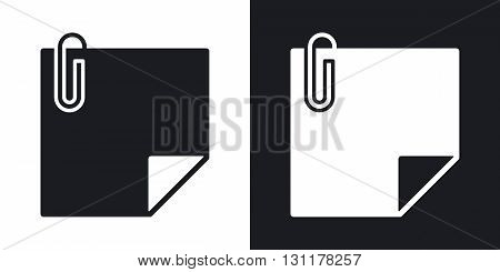 Vector note paper with paper clip icon. Two-tone version on black and white background