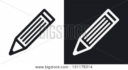 Vector pencil icon. Two-tone version on black and white background