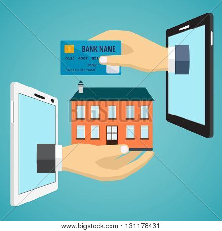 Ecommerce vector flat illustration. Hand with credit card and hand with house.