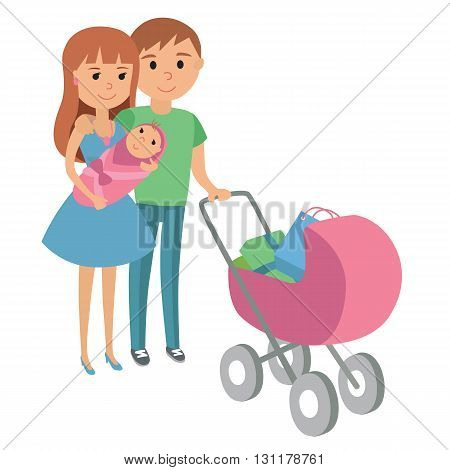 Mother and father with baby stroller. Vector illustration