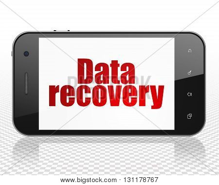 Information concept: Smartphone with red text Data Recovery on display, 3D rendering