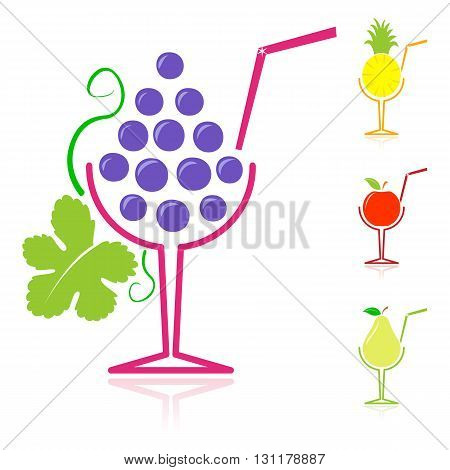 Background design with grape and pear fruit drinks besides apple and pineapple beverages against a white background