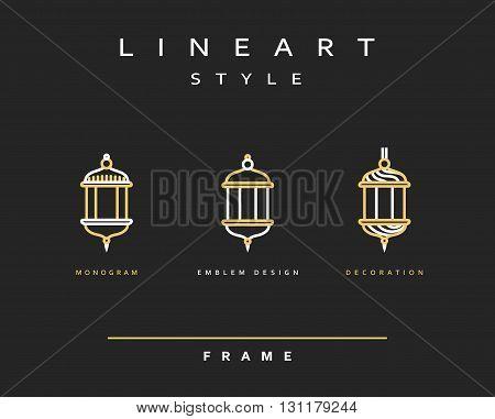 Arabic lamps. Flashlight icon Street line art