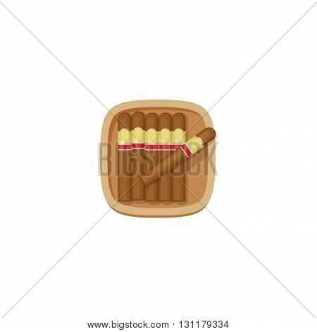 Cigars box with havana cigars vector icon isolated on white background brown flat cartoon cuban cigars case in wooden box illustration