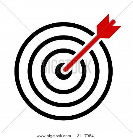 Target vector symbol isolated on white background