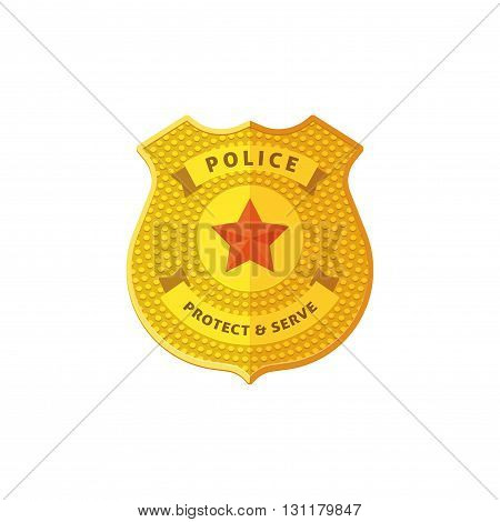 Police badge vector illustration isolated on white background detailed golden police badge icon flat cartoon design