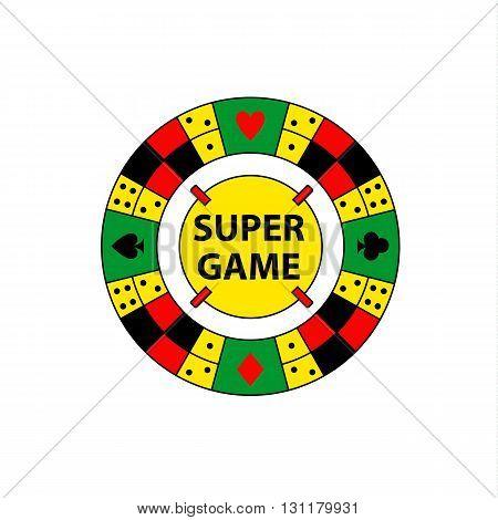 Vector Circle Logo Super Game. Desktop Gambling Chess, Dominoes,