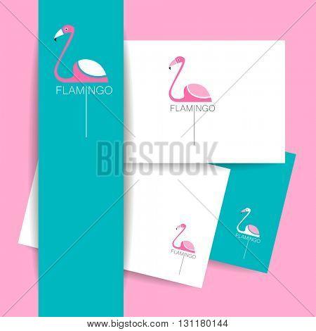 Flamingo logo. Identity presentation template. Flamingo illustration idea for logo, emblem, symbol, icon.