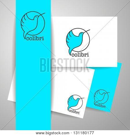 Colibri Logo. Identity design template. Hummingbird Logo.  Bird icon character. Idea for mascot symbol, icon, emblem.