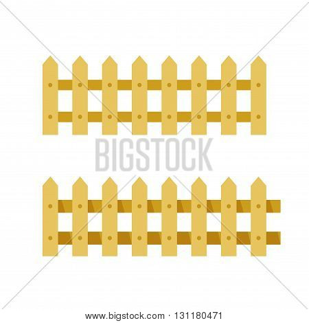 Fence vector illustration isolated on white background seamless wooden fence cartoon flat village fence icon design
