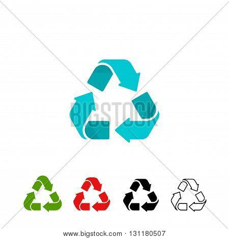 Recycling symbols vector set isolated on white background color recycle signs colorful recycling icons flat black and white outline linear design