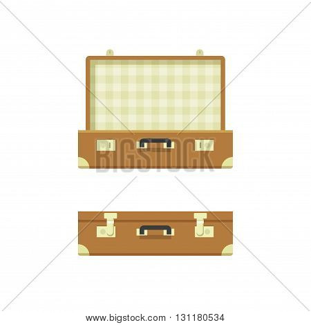 Suitcase open suitcase closed vector illustration isolated on white background textured suitcase opened and closed travel suitcases flat cartoon case design