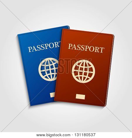 Blue and red passports on grey background. International identification document for travel.