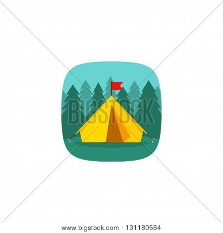 Camping tourist tent on forest landscape vector icon forest camping concept icon hiking tourism journey flat cartoon forest camp image tourist tent design isolated on white background