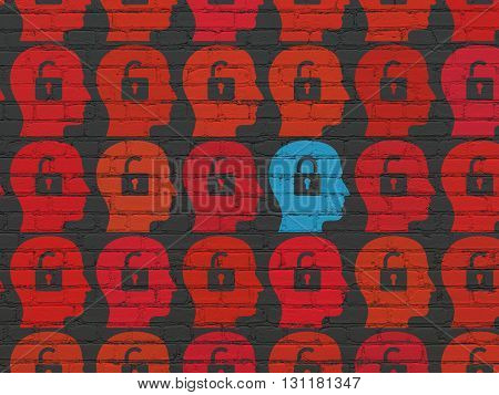 Protection concept: rows of Painted red head with padlock icons around blue head with padlock icon on Black Brick wall background