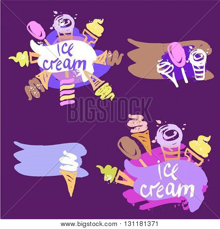 Set Of Vector Illustration Of Hand-drawn Sweets, Ice Cream On Co