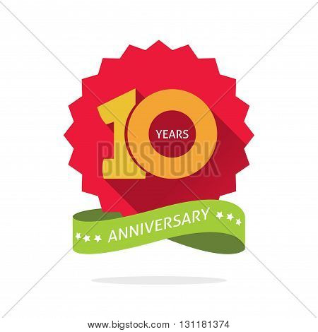 10th anniversary red starburst number 10 ten. 10 years anniversary icon. Tenth years symbol sticker ribbon vector emblem isolated on white