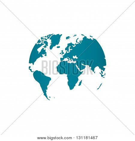Blue world map globe vector illustration isolated on white background stylized in sphere shape