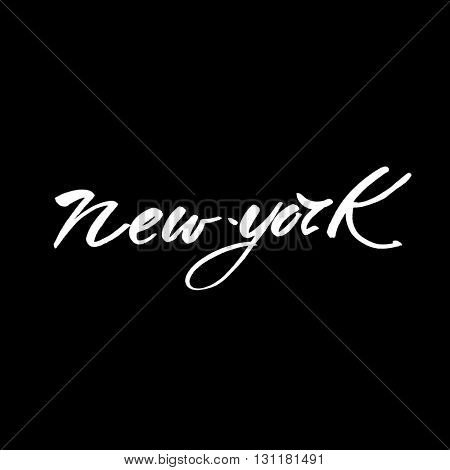 New York city  lettering design template. New York inscription. Handwritten quote.