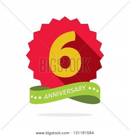 6th anniversary badge with shadow on red starburst and yellow number 6 six years anniversary icon. Sixth years symbol sticker ribbon emblem