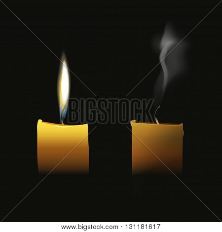 Realistic candle flaming and extinct wick with transparent smoke vector illustration isolated on black background elegant candle fire light glow