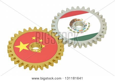 Chinese and Mexican flags on a gears 3D rendering isolated on white background