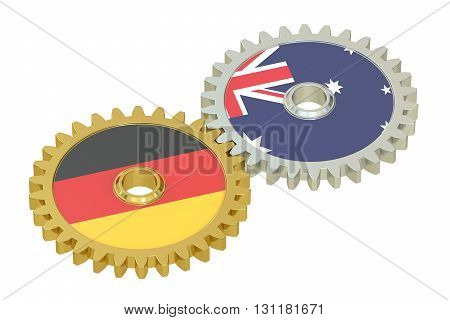 Germany and Australia flags on a gears 3D rendering isolated on white background