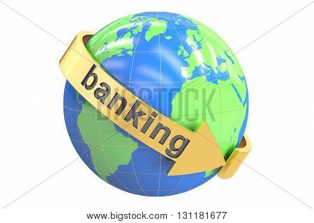 Global Banking 3D rendering isolated on white background