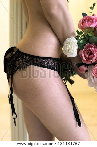 Handmade panties made from black lace and silk