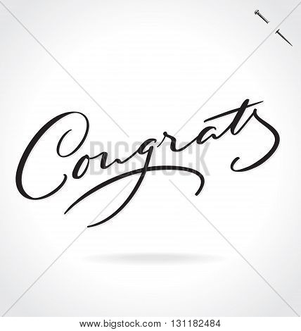 CONGRATS hand lettering - handmade calligraphy, vector