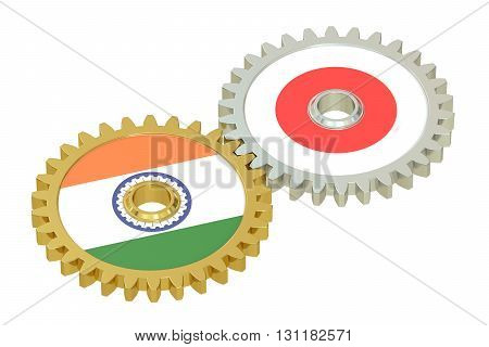 India and Japan flags on a gears 3D rendering isolated on white background