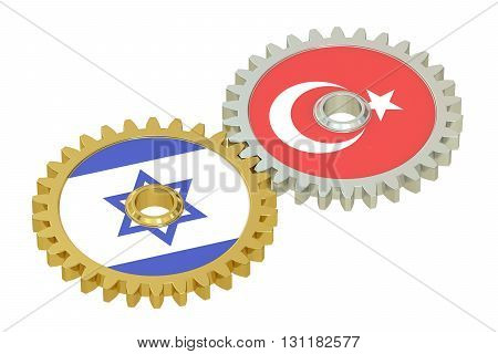 Israel and Turkey flags on a gears 3D rendering isolated on white background