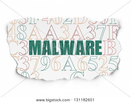 Security concept: Painted green text Malware on Torn Paper background with  Hexadecimal Code
