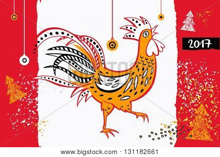 2017 Chinese New Year of the Rooster. Vector Illustration with xmas tree. Hand drawn silhouette illustration rooster on white and red background. Template for Greeting Congratulations and Invitations.