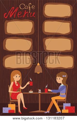 Two beautiful women sitting in the cafe drinking coffee and tea. Vector illustration of template for menu, brochure, flyers for a cafe or restaurant. Guy and girl at coffee break. Vector illustration with lettering and places for inscription menu.