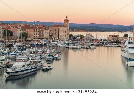 Bird eye view of the La Ciotat port at the evening, Provence, France