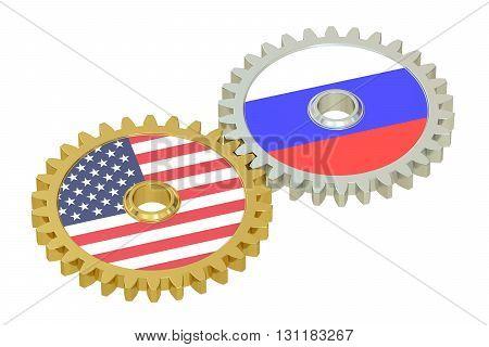 Russia and United States relations concept flags on a gears. 3D rendering isolated on white background