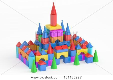 Towers from children's toy blocks 3D rendering isolated on white background