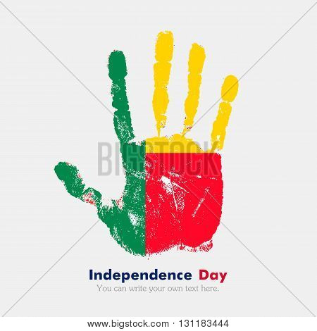 Hand print, which bears the Flag of Benin. Independence Day. Grunge style. Grungy hand print with the flag. Hand print and five fingers. Used as an icon, card, greeting, printed materials.