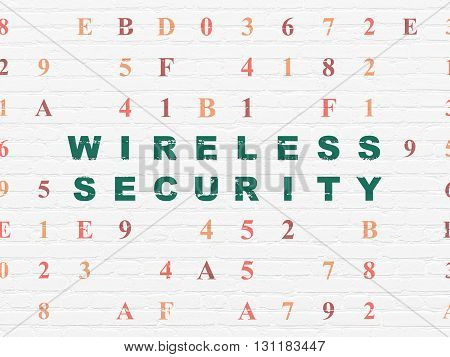 Security concept: Painted green text Wireless Security on White Brick wall background with Hexadecimal Code