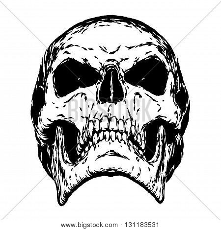black and white engrave isolated evil skull face