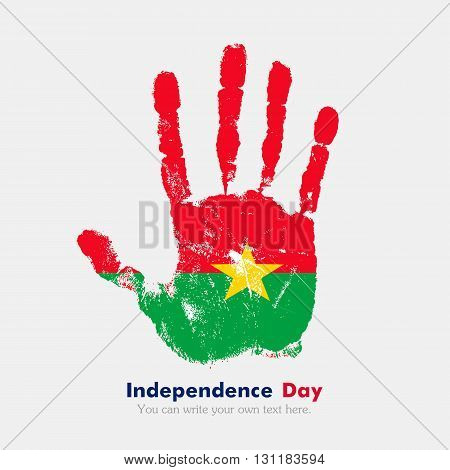 Hand print, which bears the Flag of Burkina Faso. Independence Day. Grunge style. Grungy hand print with the flag. Hand print and five fingers. Used as an icon, card, greeting, printed materials.