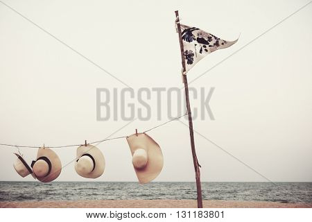 Flag Hat Hanging Beach Scenery Summer Concept